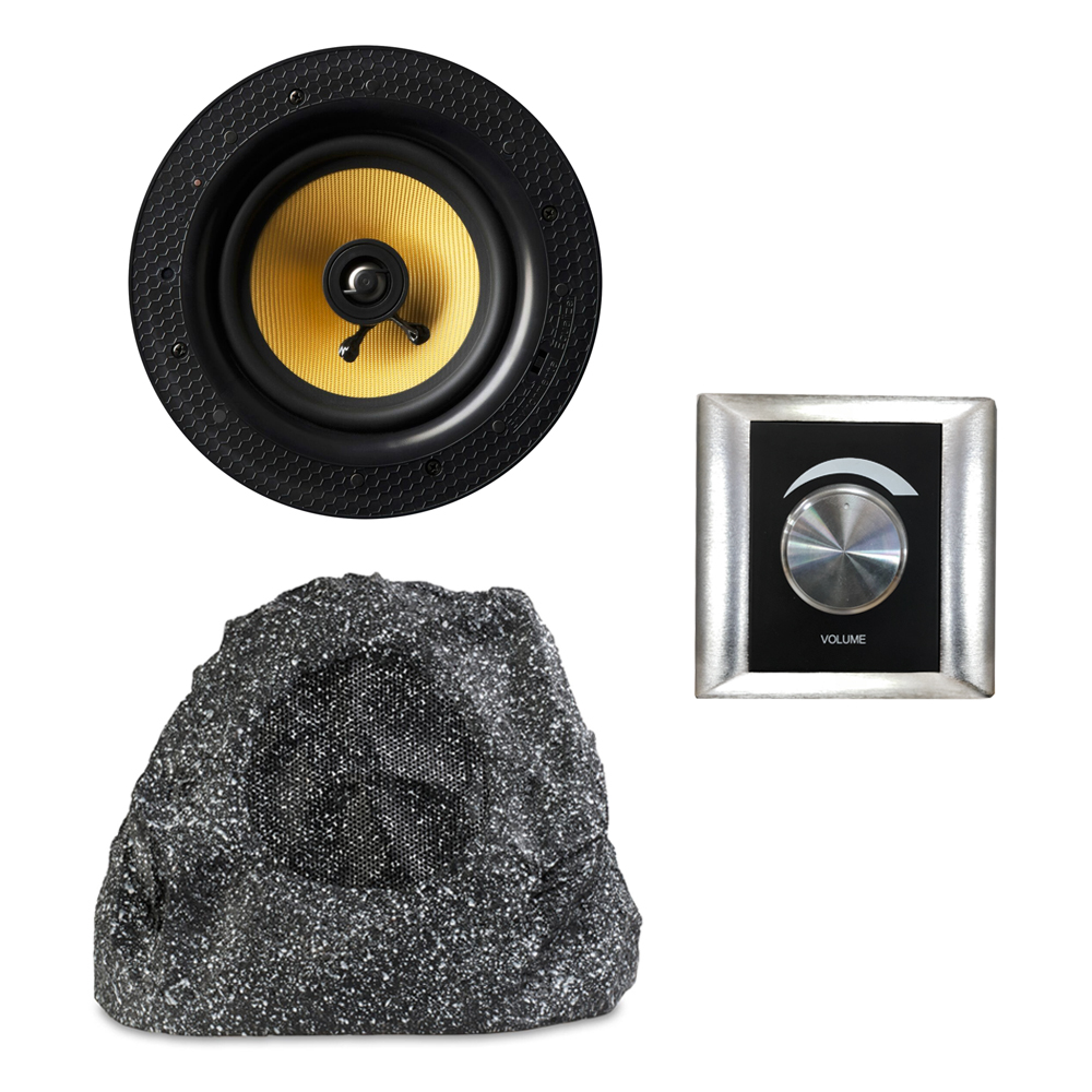 All-in-one Bluetooth Master Ceiling Speaker & Passive Garden Rock Speaker with Volume Controller
