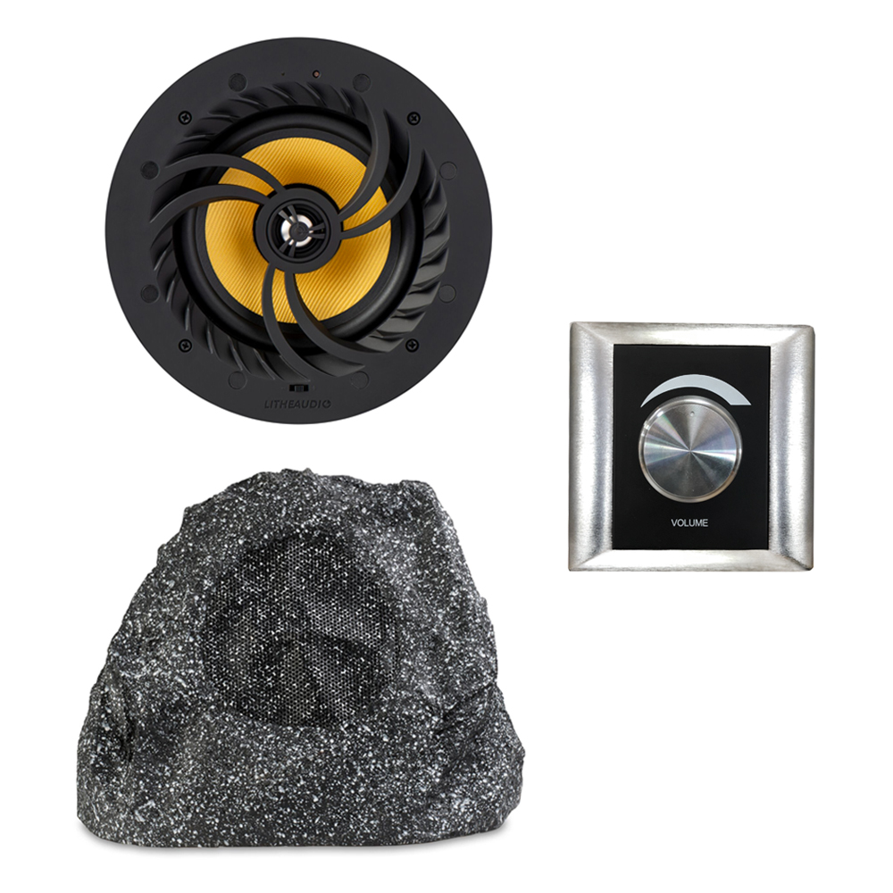 All-in-one Multi-room Wi-Fi Master Ceiling Speaker & Passive Garden Rock Speaker with Volume Controller